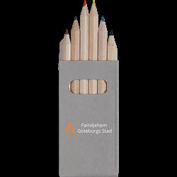 ARA 6 crayons de couleur dans un boîtier Peekay
