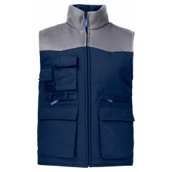 BODYWARMER DOUBLE MULTIPOCHES EPAULES CONTRASTEES