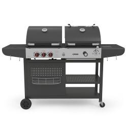 Barbecue 2 en 1 charbon et gaz