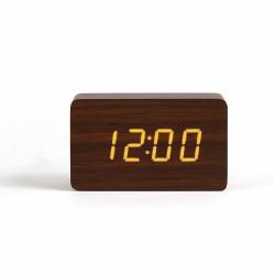 Horloge digitale aspect bois foncé