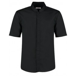 Men`s Tailored Fit Bar Shirt Mandarin Collar Short Sleeve