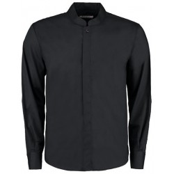 Men`s Tailored Fit Bar Shirt Mandarin Collar Long Sleeve