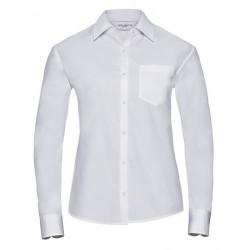 Ladies` Long Sleeve Classic Pure Cotton Poplin Shirt